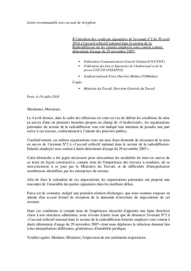 Idcc 1922 Lettre De Denonciation