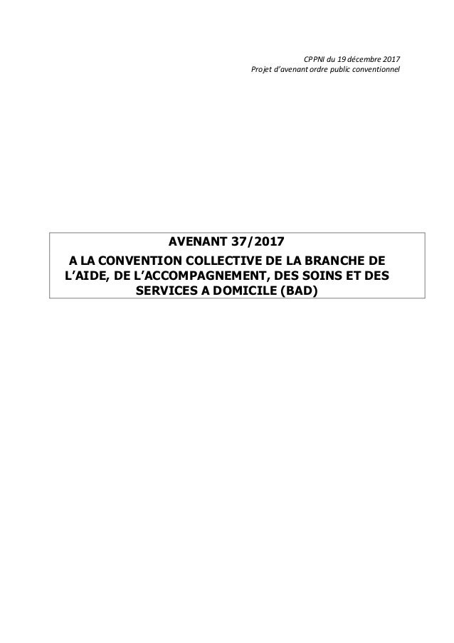 CPPNI du 19 décembre 2017 Projet d'avenant ordre public conventionnel AVENANT 37/2017 A LA CONVENTION COLLECTIVE DE LA BRA...