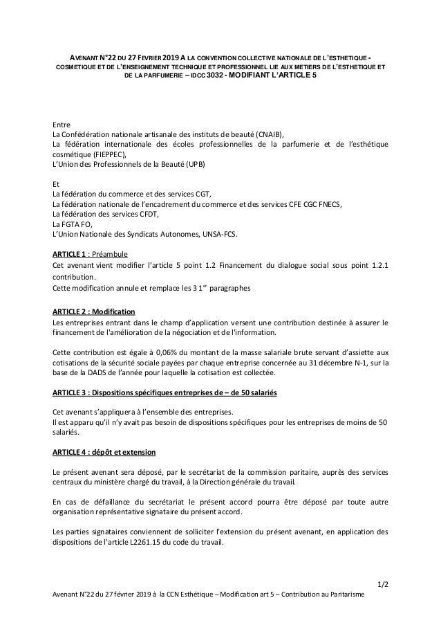1/2 Avenant N°22 du 27 février 2019 à la CCN Esthétique – Modification art 5 – Contribution au Paritarisme AVENANT N°22 DU...