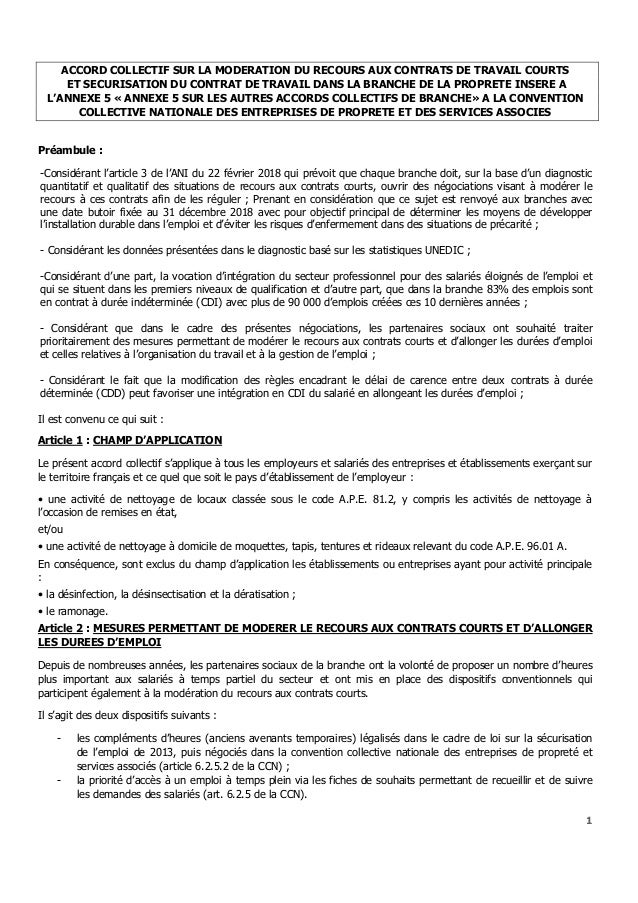 Idcc 3043 Accord Collectif Contrats Courts