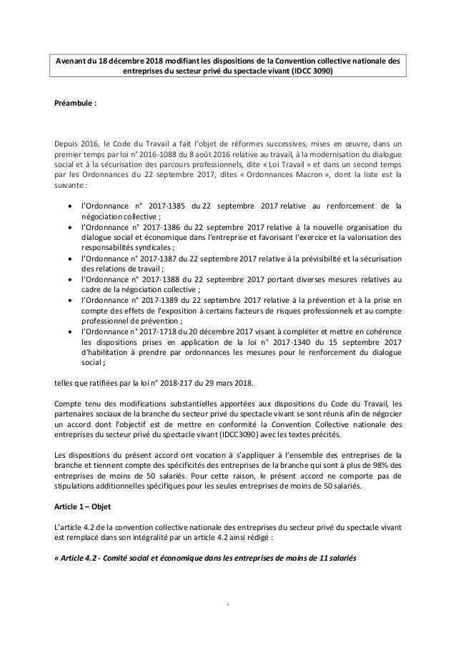 1 Avenant du 18 décembre 2018 modifiant les dispositions de la Convention collective nationale des entreprises du secteur ...