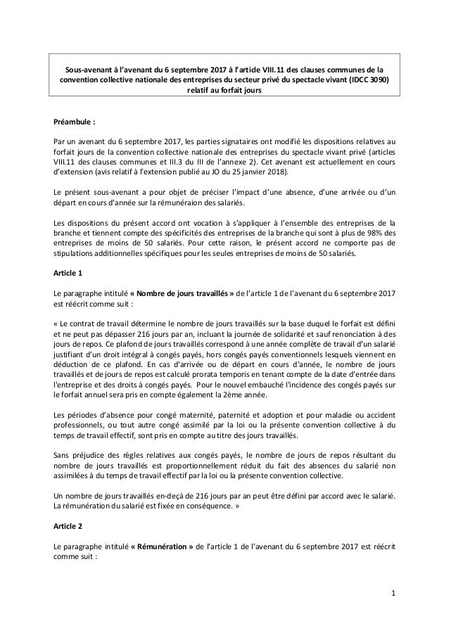 1 Sous-avenant à l'avenant du 6 septembre 2017 à l'article VIII.11 des clauses communes de la convention collective nation...