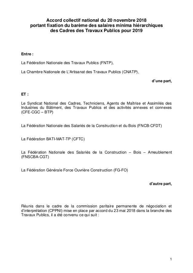 1 Accord collectif national du 20 novembre 2018 portant fixation du barème des salaires minima hiérarchiques des Cadres de...
