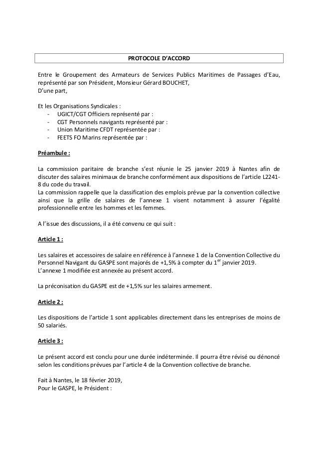 PROTOCOLE D'ACCORD Entre le Groupement des Armateurs de Services Publics Maritimes de Passages d'Eau, représenté par son P...