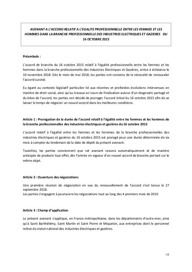 1/2 AVENANT A L'ACCORD RELATIF A L'EGALITE PROFESSIONNELLE ENTRE LES FEMMES ET LES HOMMES DANS LA BRANCHE PROFESSIONNELLE ...
