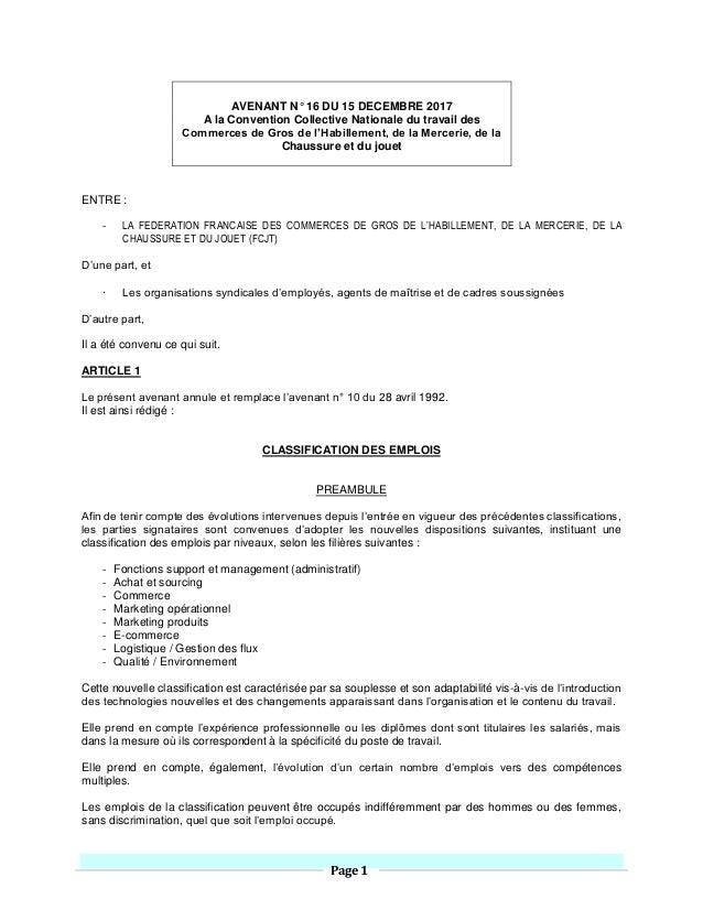 Page 1 AVENANT N° 16 DU 15 DECEMBRE 2017 A la Convention Collective Nationale du travail des Commerces de Gros de l'Habill...