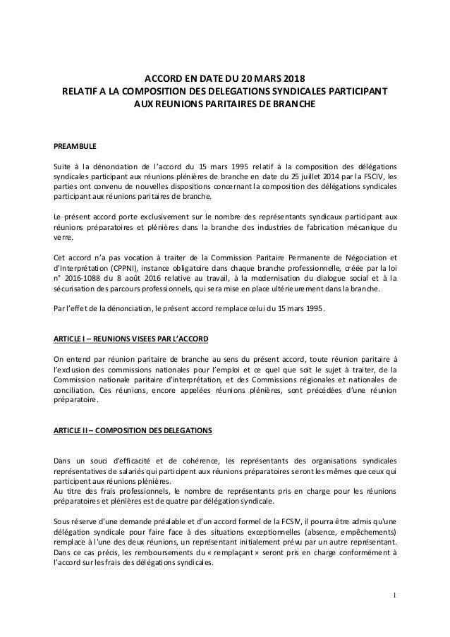 1 ACCORD EN DATE DU 20 MARS 2018 RELATIF A LA COMPOSITION DES DELEGATIONS SYNDICALES PARTICIPANT AUX REUNIONS PARITAIRES D...