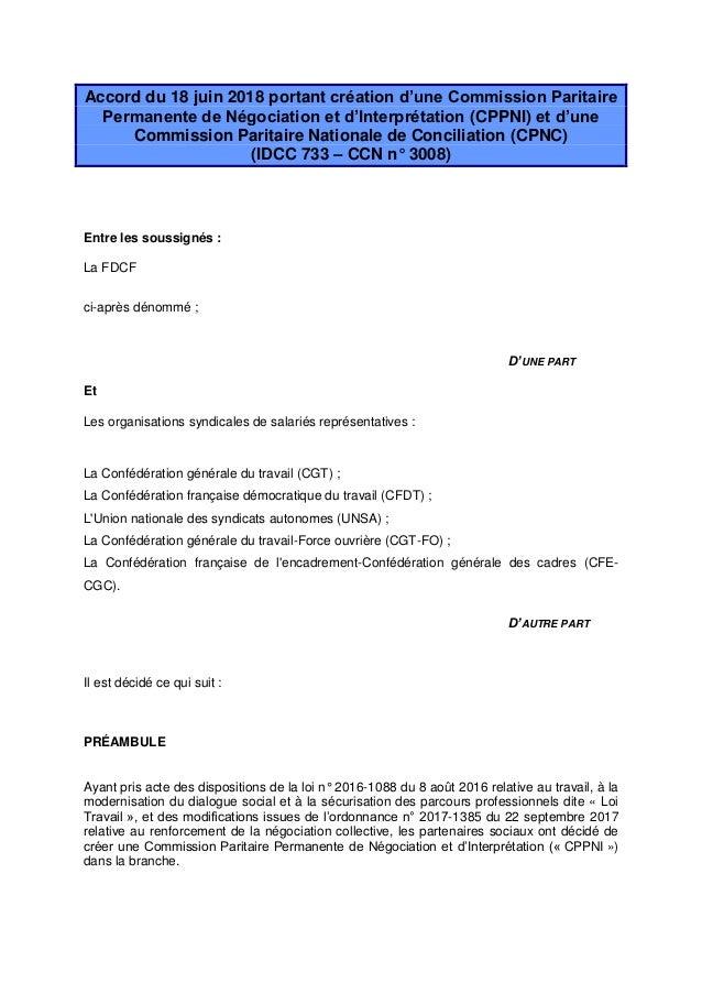Accord du 18 juin 2018 portant création d'une Commission Paritaire Permanente de Négociation et d'Interprétation (CPPNI) e...