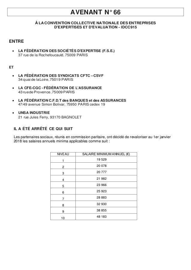 AVENANT N° 66 À LA CONVENTION COLLECTIVE NATIONALE DES ENTREPRISES D'EXPERTISES ET D'EVALUATION - IDCC915 ENTRE  LA FÉDÉR...