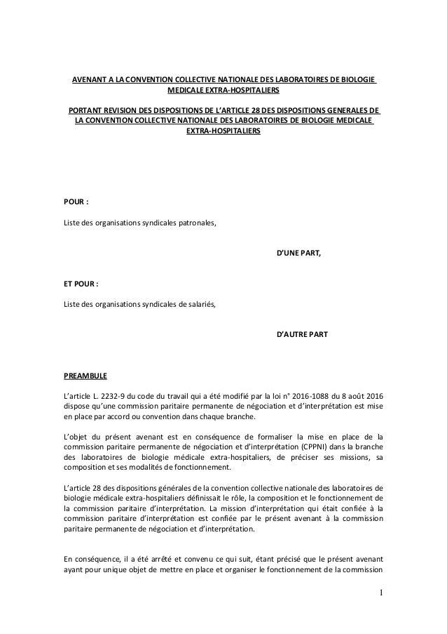 1 AVENANT A LA CONVENTION COLLECTIVE NATIONALE DES LABORATOIRES DE BIOLOGIE MEDICALE EXTRA-HOSPITALIERS PORTANT REVISION D...