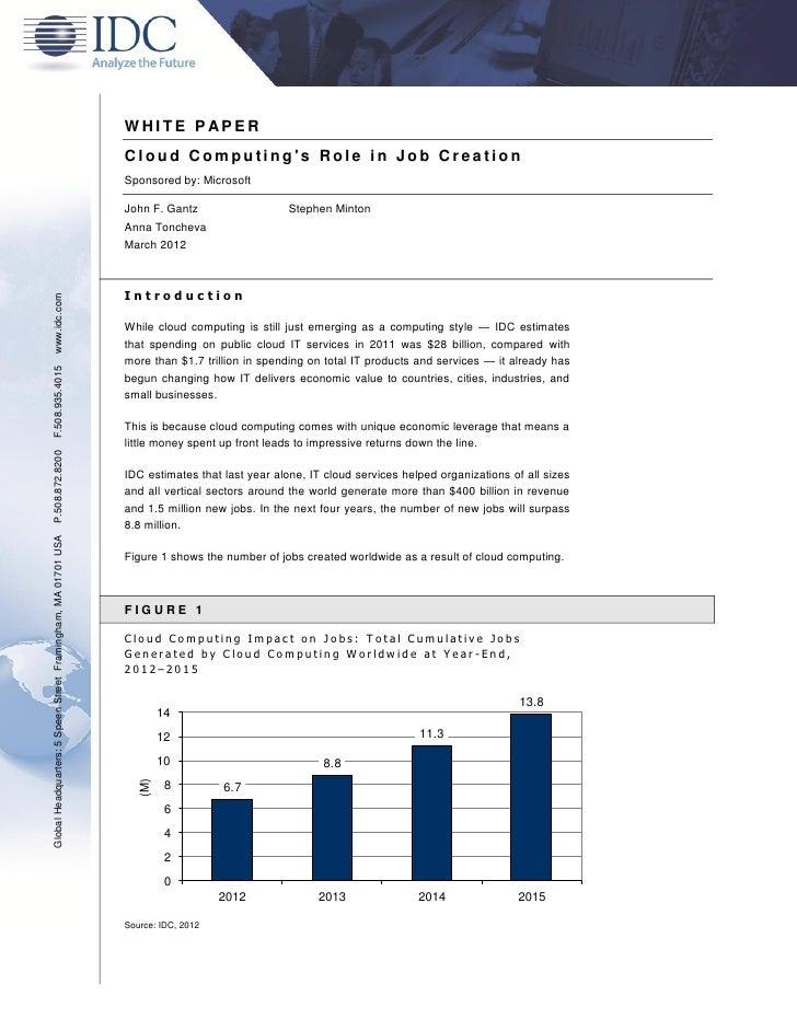 WHITE P APER                                                               Cloud Computings Role in Job Creation          ...