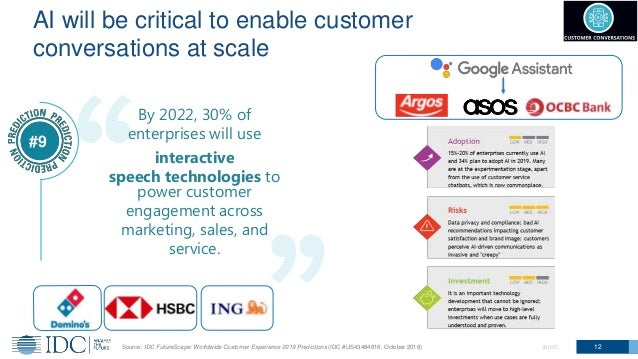 © IDC 12 AI will be critical to enable customer conversations at scale By 2022, 30% of enterprises will use interactive sp...