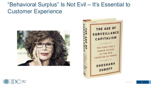 """8© IDC 2019 """"Behavioral Surplus"""" Is Not Evil – It's Essential to Customer Experience"""