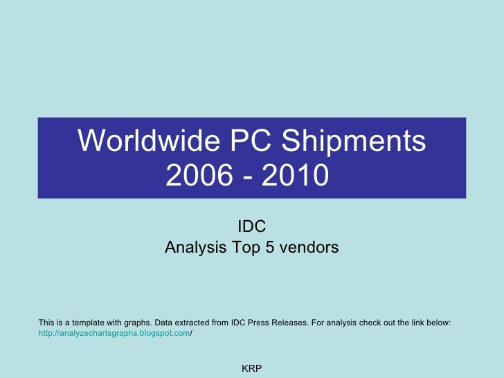 Worldwide PC Shipments 2006 - 2010   IDC Analysis Top 5 vendors This is a template with graphs. Data extracted from IDC Pr...