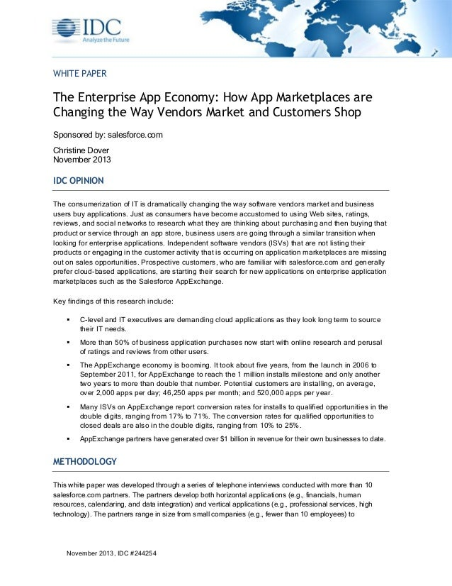 WHITE PAPER  The Enterprise App Economy: How App Marketplaces are Changing the Way Vendors Market and Customers Shop Spons...