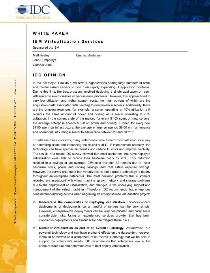 WHITE P APER                                                               IBM Virtualization Services                    ...