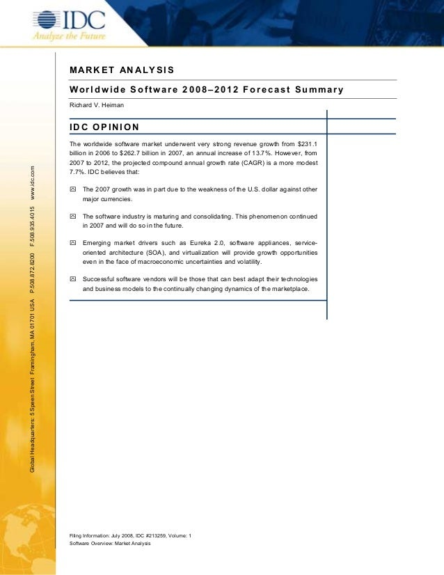 MARKET AN ALYSIS                                                               Worldwide Software 2008–2012 Forecast Summa...