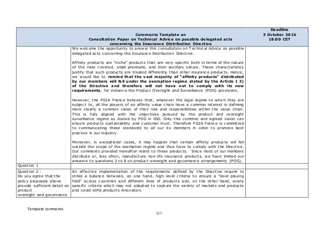 insurance distribution directive template  IDD delegated acts consultation FG2A_france_response