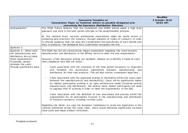 insurance idd template  IDD delegated acts consultation FG2A_france_response