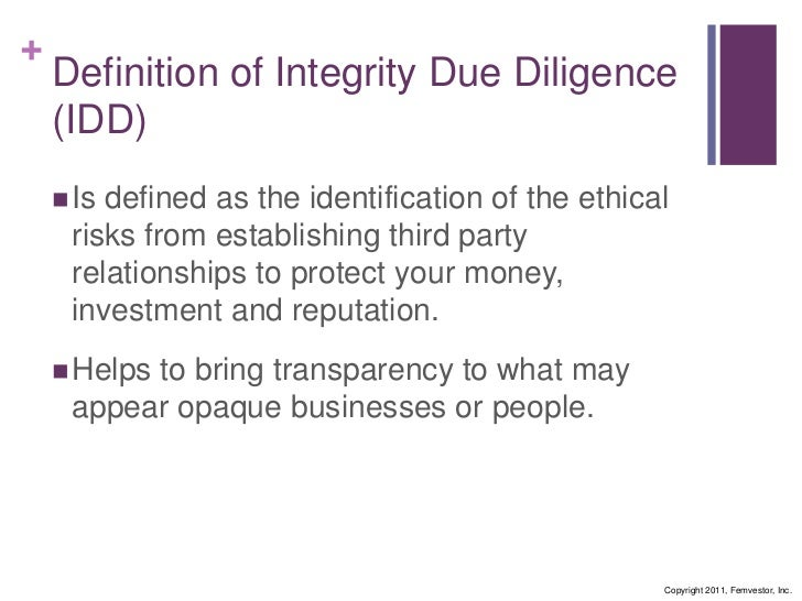 Professional Diligence   Definition. Integrity Due Diligence