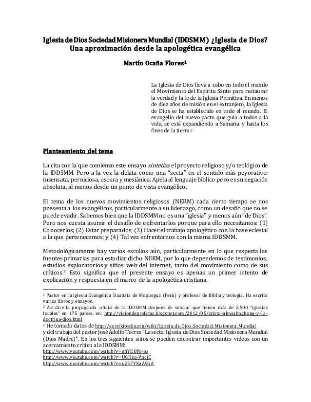 IglesiadeDiosSociedadMisioneraMundial (IDDSMM) ¿Iglesia de Dios? Una aproximación desde la apologética evangélica Martín O...