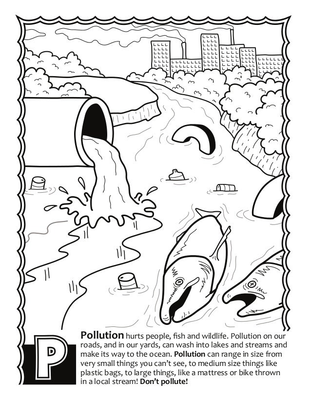 Plastic pollution coloring pages for Water pollution coloring pages