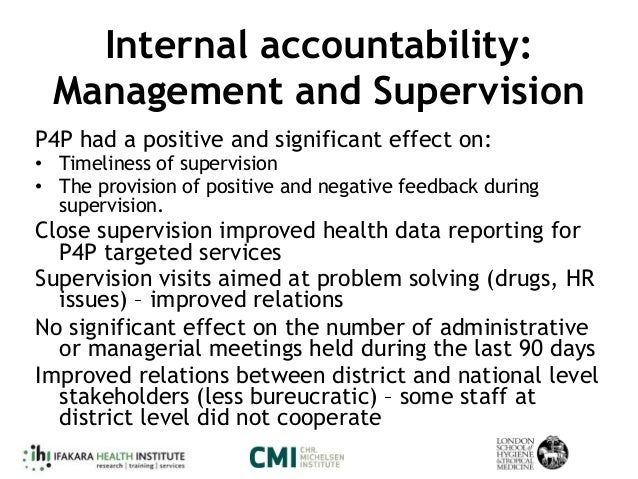 Internal accountability: Management and Supervision P4P had a positive and significant effect on: • Timeliness of supervis...