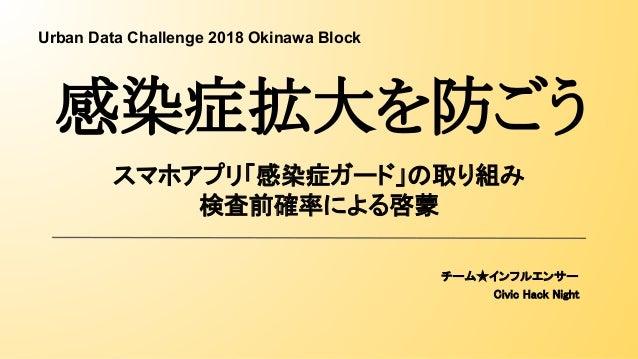 スマホアプリ「感染症ガード」の取り組み 検査前確率による啓蒙 チーム★インフルエンサー Civic Hack Night 感染症拡大を防ごう Urban Data Challenge 2018 Okinawa Block