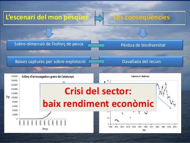 L'escenari del mon pesquer  Les conseqüències  Sobre-dimensió de l'esforç de pesca  Pèrdua de biodiversitat  Baixes captur...