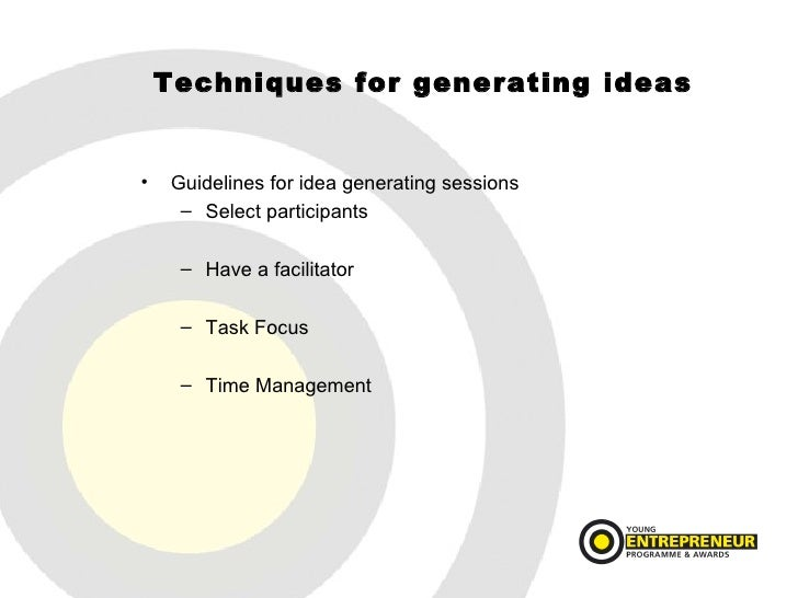 idea generation Idea generation (ideation) is critical to the design and marketing of new products, to marketing strategy, and to the creation of effective advertising copy however, there has been relatively little formal research on the underlying incentives with which to encourage participants to focus their energies on relevant and novel.