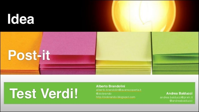 Idea Idea —> Post-It —> Test Verdi  Post-it  Test Verdi! #CDays14 – Milano 25, 26 e 27 Febbraio 2014  Alberto Brandolini! ...