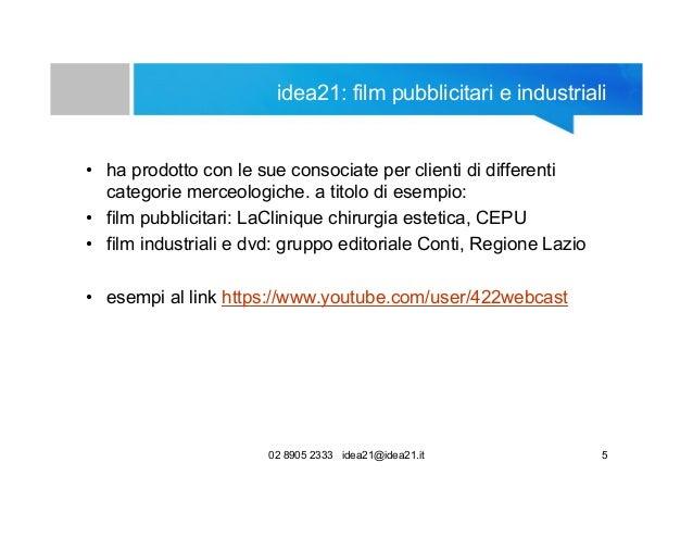 02 8905 2333 idea21@idea21.it 5 idea21: film pubblicitari e industriali • ha prodotto con le sue consociate per clienti di...