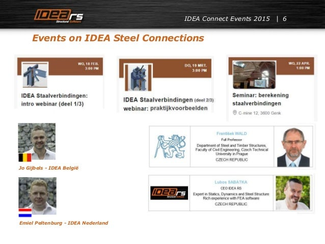 IDEA Connect Events 2015 6 Events on IDEA Steel Connections Jo Gijbels - IDEA België Emiel Peltenburg - IDEA Nederland