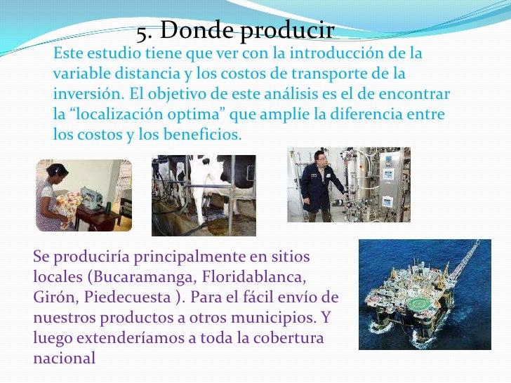 5. Donde producir<br />Este estudio tiene que ver con la introducción de la variable distancia y los costos de transporte ...