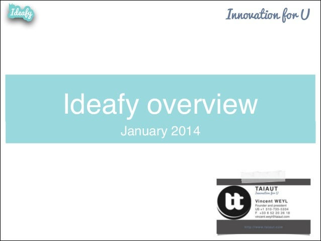 Innovation for U  Ideafy overview January 2014