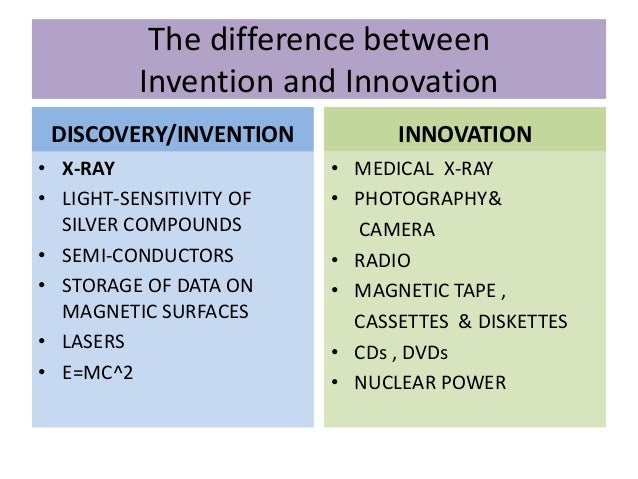 The difference between Invention and Innovation DISCOVERY/INVENTION • X-RAY • LIGHT-SENSITIVITY OF SILVER COMPOUNDS • SEMI...