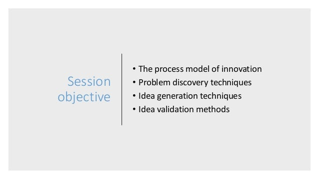 Session objective • The process model of innovation • Problem discovery techniques • Idea generation techniques • Idea val...