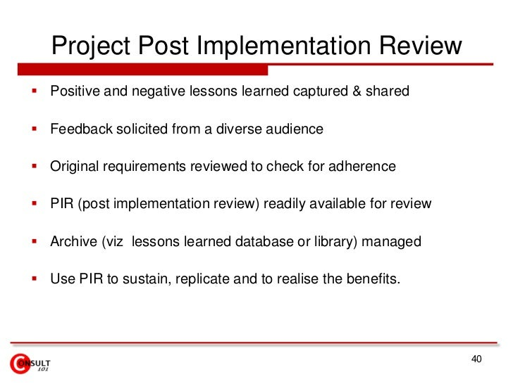 Lss idea generation to project execution 40 project post implementation review pronofoot35fo Images