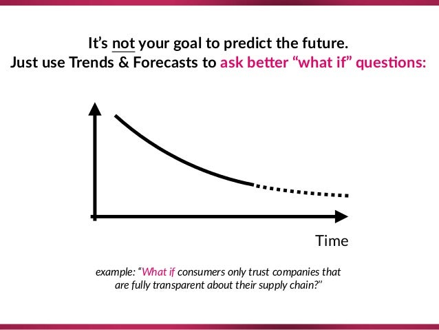 """It's not your goal to predict the future. Just use Trends & Forecasts to ask beTer """"what if"""" ques;ons: Time example: """"What..."""