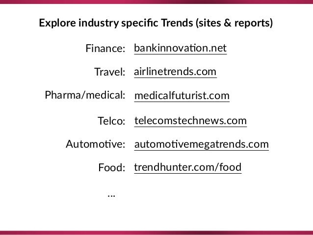 Explore industry specific Trends (sites & reports) Finance: Travel: Pharma/medical: Telco: Automo8ve: Food: airlinetrends.c...