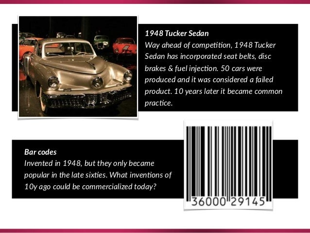 1948 Tucker Sedan Way ahead of compe??on, 1948 Tucker Sedan has incorporated seat belts, disc brakes & fuel injec?on. 50 c...