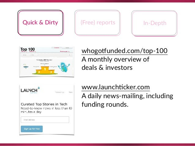 Quick & Dirty (Free) reports In-Depth whogoQunded.com/top-100 A monthly overview of  deals & investors www.launch8cker.c...