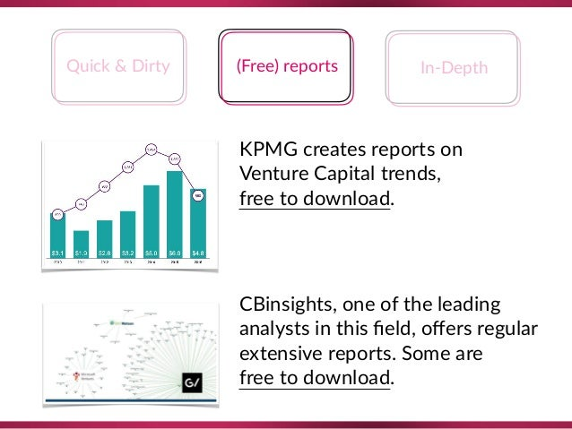 Quick & Dirty (Free) reports In-Depth KPMG creates reports on Venture Capital trends,  free to download. CBinsights, one...