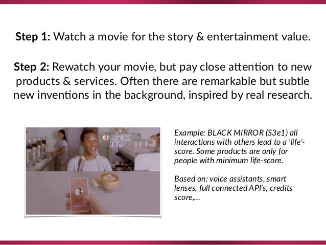 Step 1: Watch a movie for the story & entertainment value. Step 2: Rewatch your movie, but pay close a`en8on to new produ...