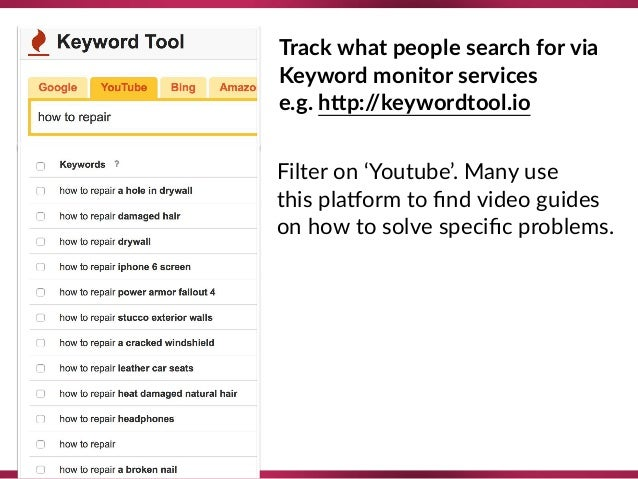 Track what people search for via Keyword monitor services e.g. hTp://keywordtool.io Filter on 'Youtube'. Many use this ...
