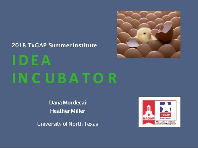 2018 TxGAP Summer Institute IDEA IN C UB A T O R DanaMordecai HeatherMiller University of North Texas