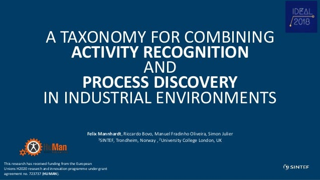 A TAXONOMY FOR COMBINING ACTIVITY RECOGNITION AND PROCESS DISCOVERY IN INDUSTRIAL ENVIRONMENTS Felix Mannhardt, Riccardo B...