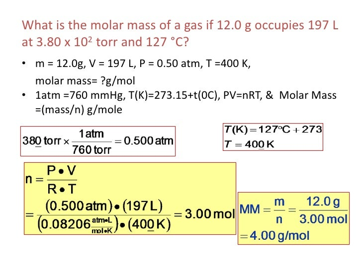 How To Find Molar Mass Of A Gas