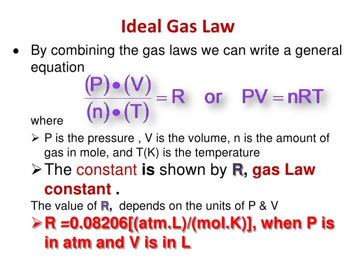 Ideal Gas Law Units English