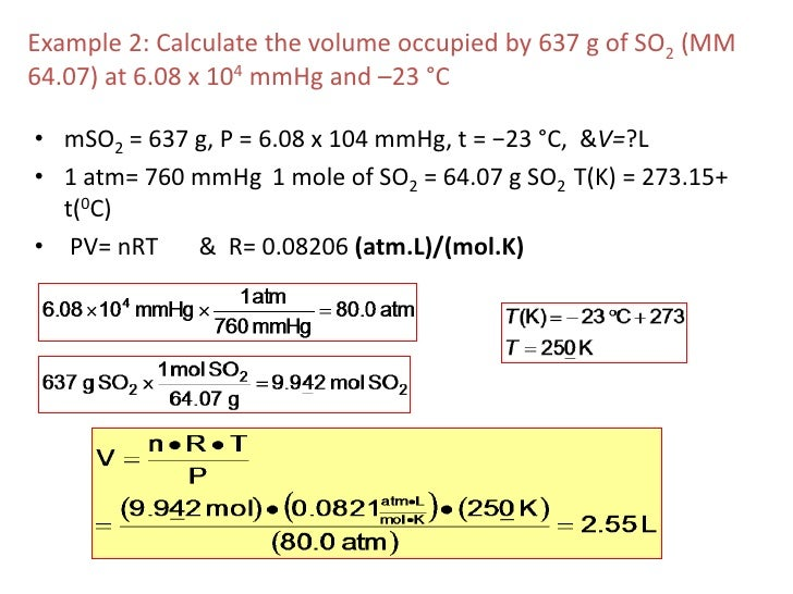 how to calculate volume given density and temperature